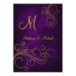 Elegant Violet Gold Monogram Wedding Invitation