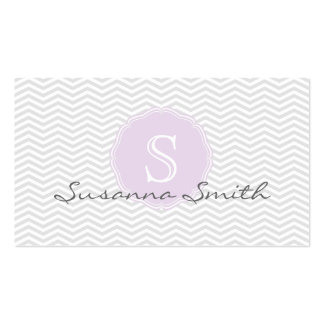 Elegant violet group of chevrón and monograma business card templates