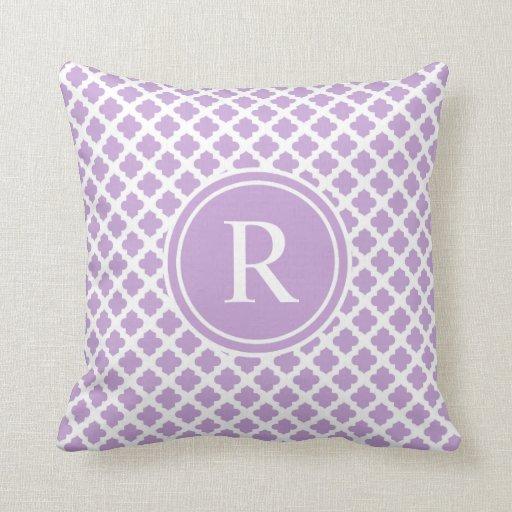 Elegant Violet Quatrefoil Monogram Throw Pillow