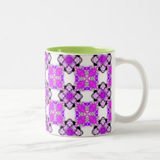 Elegant Violet Teal Snowflake Diamonds Mug