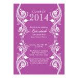 Elegant Violet  White Graduation Party Invitation