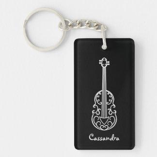 Elegant violin design black and white Double-Sided rectangular acrylic keychain