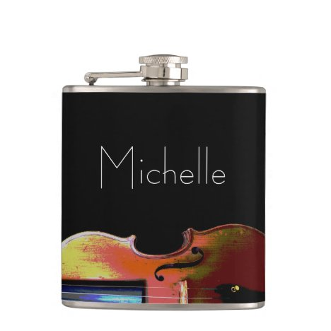Elegant Violin Monogram Black Flask