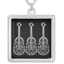 Elegant violin pattern silver plated necklace