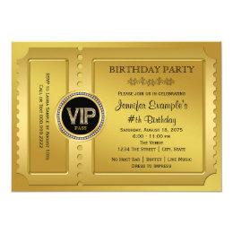 Golden ticket invitations announcements zazzle elegant vip golden ticket birthday party card filmwisefo Images