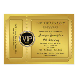 Vip invitations announcements zazzle elegant vip golden ticket birthday party card stopboris Image collections