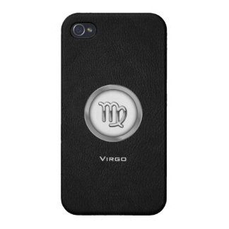 Elegant Virgo Zodiac Sign with Black Leather | Cover For iPhone 4