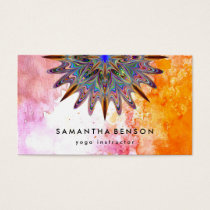 Elegant Water Color Lotus Flower Logo Yoga Business Card