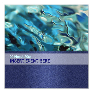 Elegant water environment energy conference 5.25x5.25 square paper invitation card