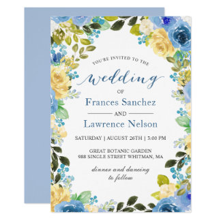 Elegant Watercolor Blue Yellow Rose Garden Wedding Invitation