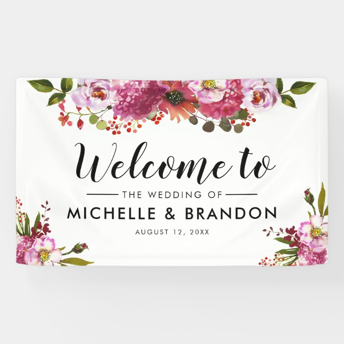 elegant watercolor blush coral pink floral wedding banner zazzle com elegant watercolor blush coral pink floral wedding banner zazzle com