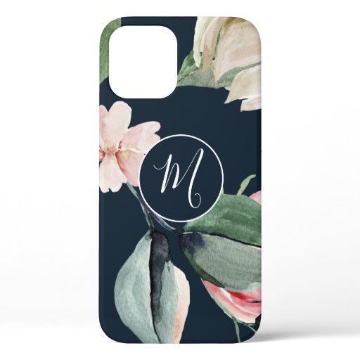 Elegant Watercolor Blush Floral Monogrammed  iPhone 12 Case