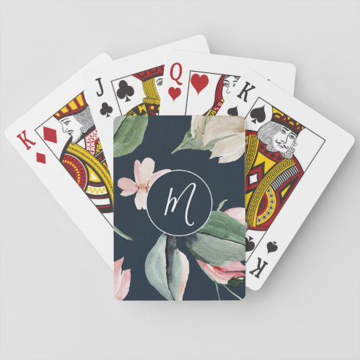 Elegant Watercolor Blush Floral Monogrammed   Playing Cards