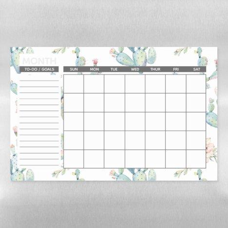 Elegant Watercolor Boho Cactus Monthly Calendar Magnetic Dry Erase Sheet