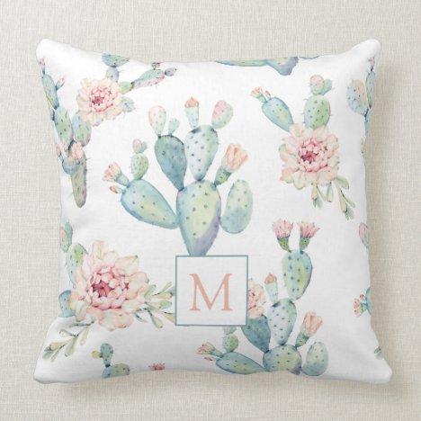Elegant Watercolor Boho Cactus Pattern Monogram Throw Pillow