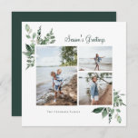 """Elegant Watercolor Botanical Greenery Photo Holiday Card<br><div class=""""desc"""">Elegant watercolor botanical forest greenery,  holiday photo card. Features,  festive green text and coordinating solid green color backing.</div>"""