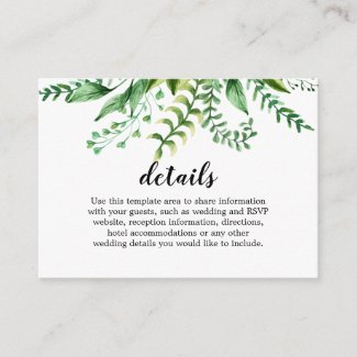 Elegant Watercolor Botanical Wedding Details Enclosure Card