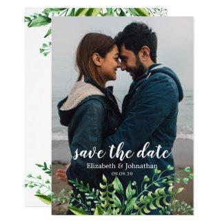 Elegant Watercolor Botanical Wedding Save the Date Invitation