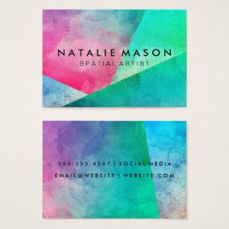 Elegant Watercolor Color Blocks Business Card