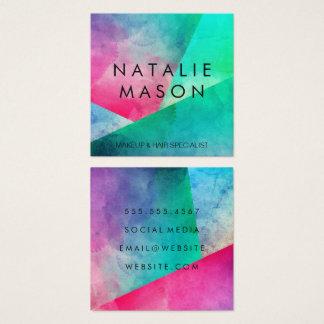 Elegant Watercolor Color Blocks Square Business Card