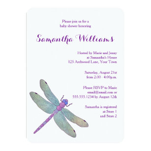 Dragonfly invitations announcements zazzle elegant watercolor dragonfly baby shower card filmwisefo Images