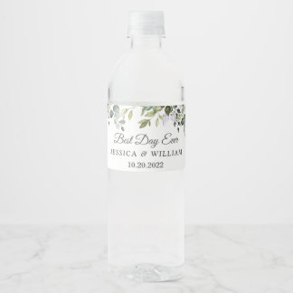 Elegant Watercolor Eucalyptus Best Day Ever Water Bottle Label