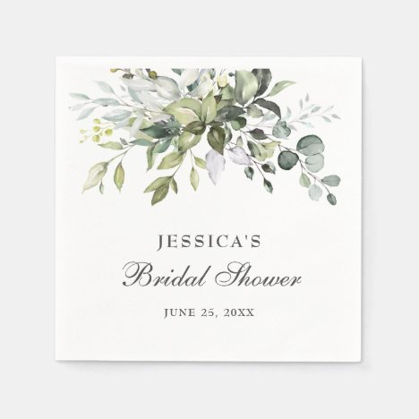 Elegant Watercolor Eucalyptus Bridal Shower Paper Napkins