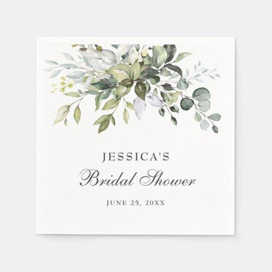 Elegant Watercolor Eucalyptus Bridal Shower Paper Napkins
