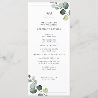 Elegant Watercolor Eucalyptus Greenery Wedding Program