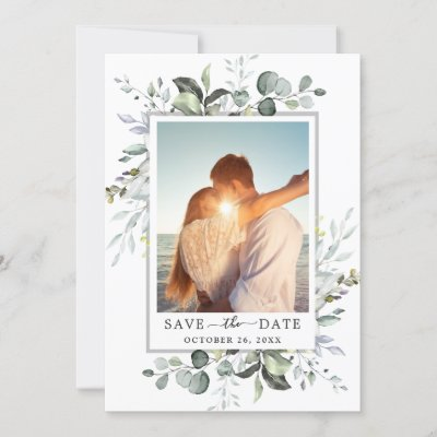 Elegant Watercolor Eucalyptus PHOTO Wedding Save The Date
