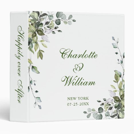 Elegant Watercolor Eucalyptus Wedding Custom 3 Ring Binder