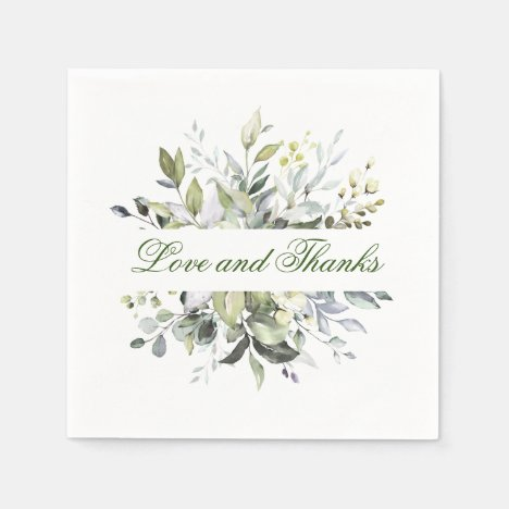 Elegant Watercolor Eucalyptus Wedding Paper Napkins