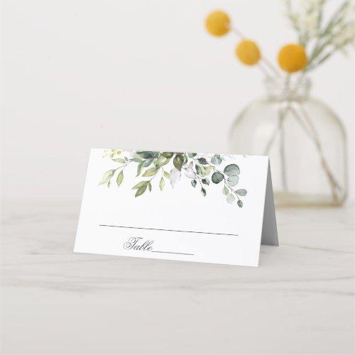 Elegant Watercolor Eucalyptus Wedding Table Place Card