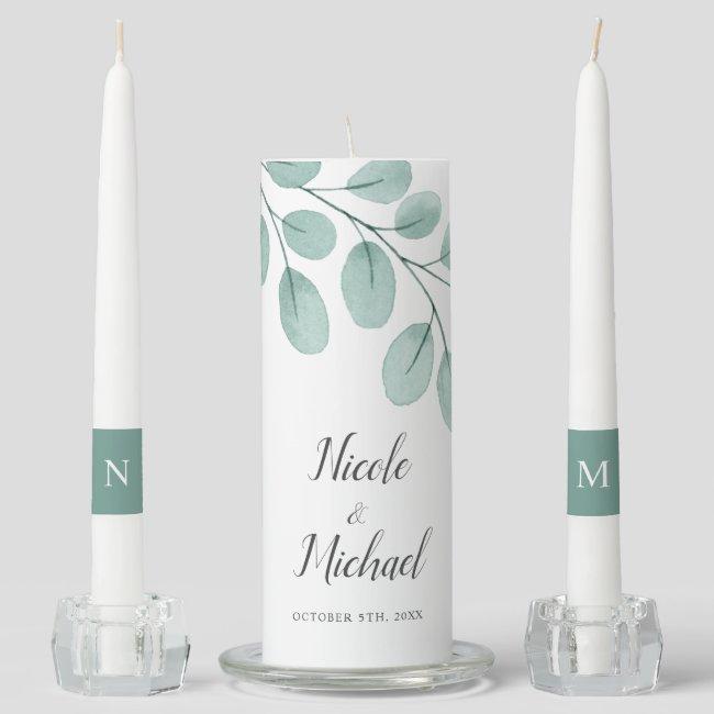Elegant Watercolor Eucalyptus Wedding Unity Candle Set