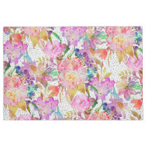 Elegant watercolor floral and dotted brush strokes doormat