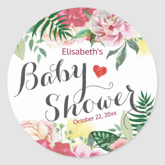 Elegant Watercolor Floral Baby Shower Thank You Classic Round Sticker
