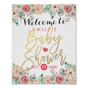 Beautiful Elegant Watercolor Floral Baby Shower Welcome Sign