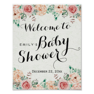 Elegant Watercolor Floral Baby Shower Welcome Sign