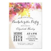 Elegant Watercolor Floral Bachelorette Party invit Card