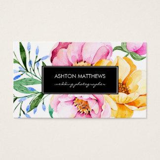 Elegant Watercolor Floral Bouquet Business Card