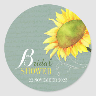 Elegant Watercolor Floral Bridal Shower Classic Round Sticker