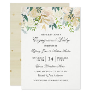 Elegant Watercolor Floral Gold Engagement Party Card