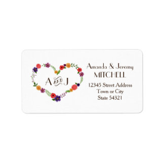 Elegant Watercolor Floral Heart Wreath Monogram Address Label