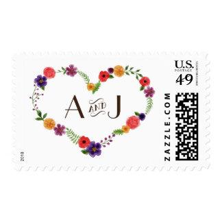 Elegant Watercolor Floral Heart Wreath Monogram Postage Stamp