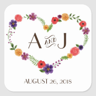 Elegant Watercolor Floral Heart Wreath Monogram Square Sticker