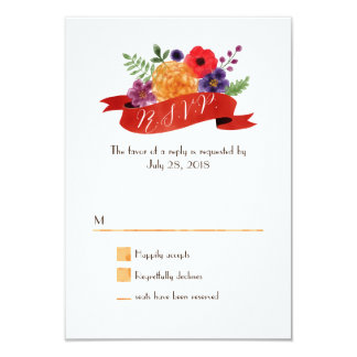 Elegant Watercolor Floral Heart Wreath RSVP 3.5x5 Paper Invitation Card