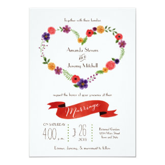 Elegant Watercolor Floral Heart Wreath Wedding Announcements