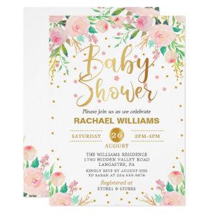 Elegant Watercolor Fl Pink Gold Baby Shower Invitation