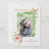 Elegant Watercolor Floral | Text | Photo Holiday Card