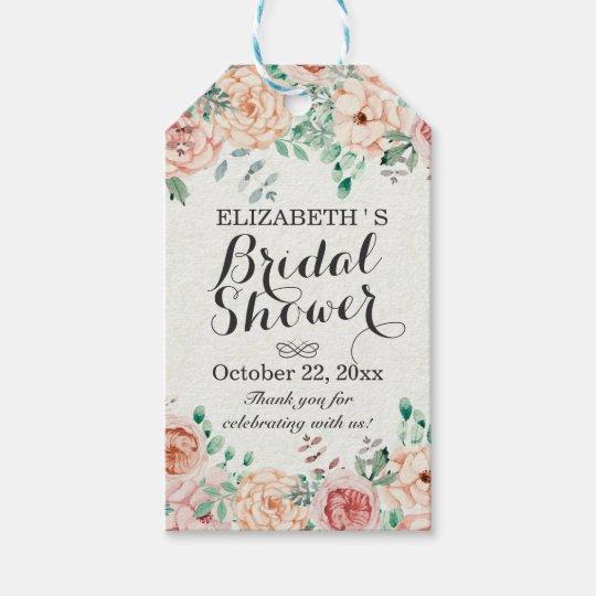 elegant watercolor floral wedding bridal shower gift tags